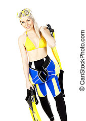 standing young woman wearing neoprene with diving equipment