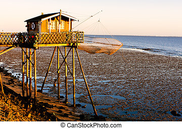 fishing house with fishing net, Gironde Department,...