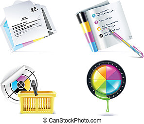 Vector print shop icon set. P.4 - Set of prepress and print...