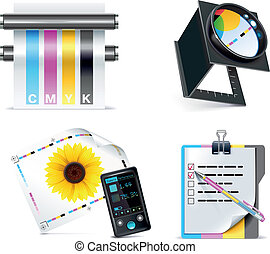 Vector print shop icon set. P.5 - Set of prepress and print...