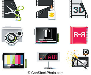 Vector video icons P6 - Set of the video editing related...