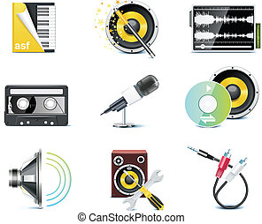 Vector video icons - Set of the video editing related icons...