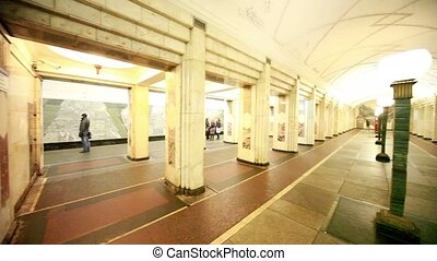 Commuters and trains on Semyonovskaya station - MOSCOW -...