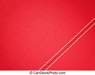 Diagonal stitched red leather background