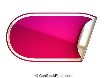Pink rounded bent sticker or label over white background