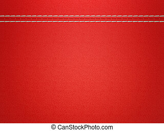 Stitched red leather background. Large resolution