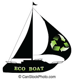 Eco boat - Illustration of silhouette eco boat on a white...