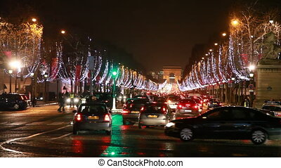 Many cars traveling at crossroads of Champs-Elysees - PARIS...