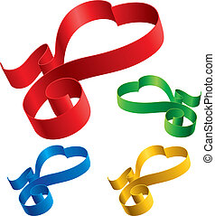 Simple ribbons hearts - Simple color ribbon hearts - vector...