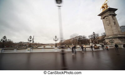 Travel across bridge Alexander III over River Seine - travel...