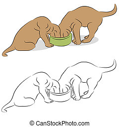 Two Labrador Puppies Eating From A Dog Bowl - An image of a...