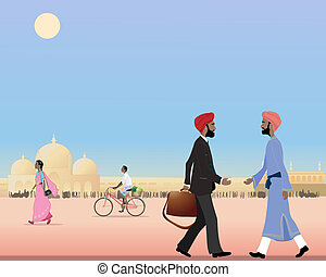 punjabi meeting - an illustration of two sikh men meeting in...