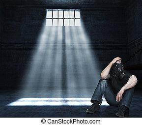 hombre, prisión