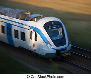 Commuter train in motion - Front of commuter train in motion