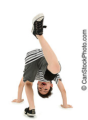 Boy Doing Cartwheel over White Background - Attractive happy...