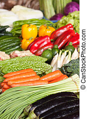 fresh vegetables in market - various colorful fresh...