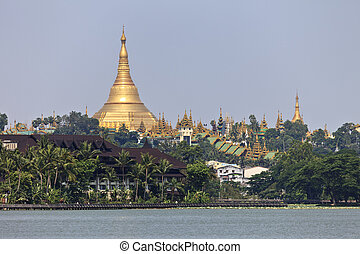 Shwedagon Pagoda - The Shwedagon Pagoda seen from Kandawgyi...