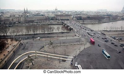 Pont de la Concorde view from Roue De Paris, cabin of ferris...