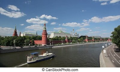 Kremlin from the Moscow river front view, steam-ship passing...
