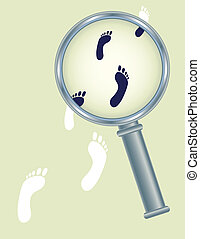 footprints under magnifier glass - abstract human footprints...