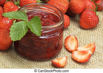 Strawberry harvest - The jar of tasty homemade strawberry...