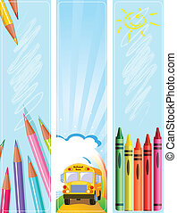 Different Back to school banners - Illustrated set of three...