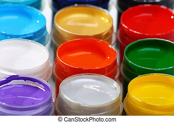 Set of acrylic paints for dyeing fabrics. - Set of acrylic...