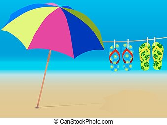 Summer Background - Beach Umbrella and Hanging Flip-Flops on...