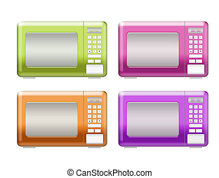 microwaves - green, pink, orange, purple microwaves isolated...