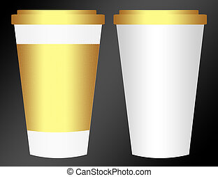 plastic cup - white and gold plastic cup isolated over black...