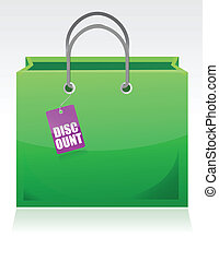Shopping bag with a discount tag
