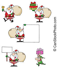 Santas - Santa Claus Cartoon Characters-Vector Collection