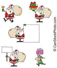 Santas  - Santa Claus Cartoon Characters-Vector Collection