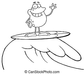 Outlined Happy Frog While Surfing Cartoon Character
