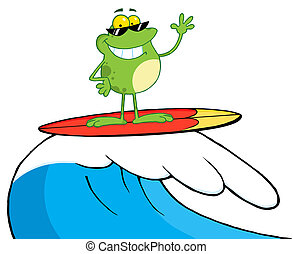 Happy Frog While Surfing Cartoon Character