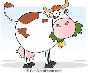 White Dairy Cow Cartoon Character Chewing On A Grass