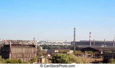 Panorama of modern industrial district in day.