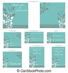 Wedding Reception Card - illustration of set of wedding...
