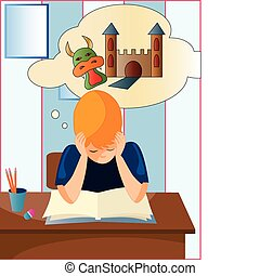 child reading - the ilustracion is about a child reading a...