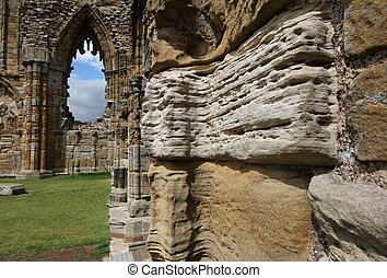 Whitby Abbey erosion - The erosion of the sandstone ruins of...