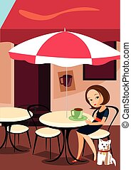 coffee house - the ilustracion is about a woman in a coffe...