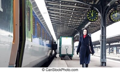 Girl came to train and enters in wagon - girl came to train,...