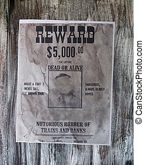wanted danger man, robber of banks, bandit, vintage paper -...