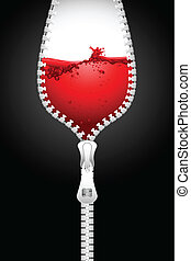 WIne Zipper - illustration of opening zipper in shape of...