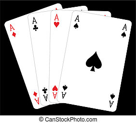 Cards - Vector illustration of four of a kind aces