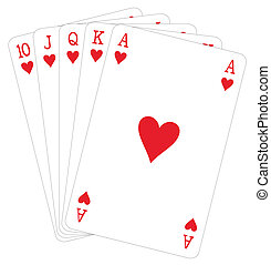 Cards - Vector illustration of royal flush hand hearts