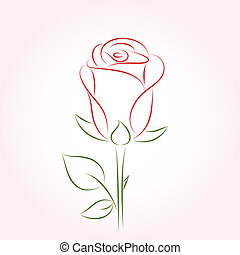 Single red rose on a pink background