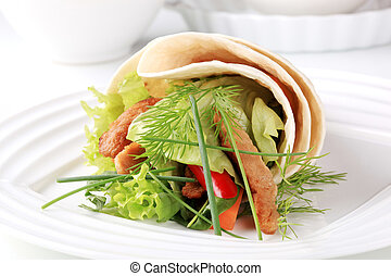 Vegetarian wrap sandwich with strips of soy meat