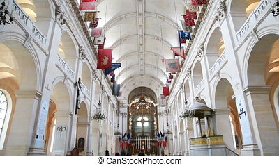 Inside Cathedral of St. Louis, famous so that it is buried Napoleon, in Paris