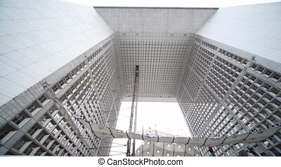 Grand Arch of La Defense in Paris, panorama from top down